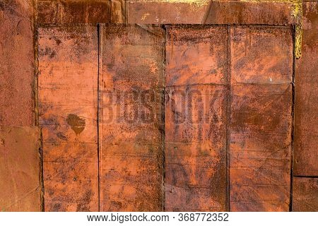 Rusted Tin Sheets Patchwork Wall Texture And Flat Background