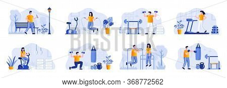 Fitness Scenes Bundle With People Characters. People Running, Jumping With Rope, Lifting Dumbbells A