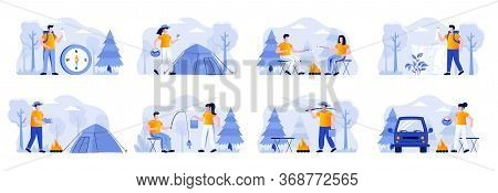 Camping Scenes Bundle With People Characters. Mushroom Hunting, Traveling With Backpack And Camping