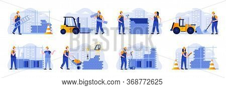 Construction Site Scenes Bundle With People Characters. Welder, Painter, Metalworker And Bricklayer