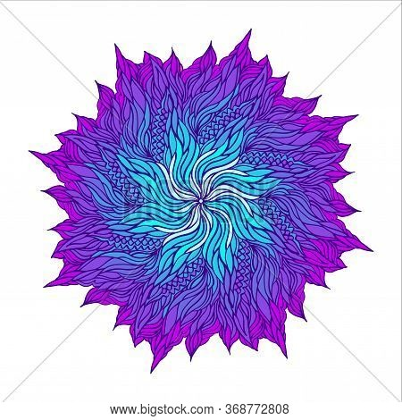 Vector Hand-drawn Oriental Mandala. Ethnic Mandala With Elegant Ornament Isolated On White. Islam, A