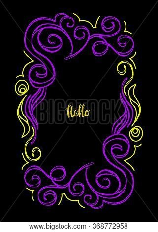 Hand Drawn Floral Vector Border. Flourish Design Elements For Invitation, Page Decoration And Postca
