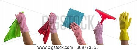 Cleaning Accessories On Gloved Hands Isolated Against White Background.