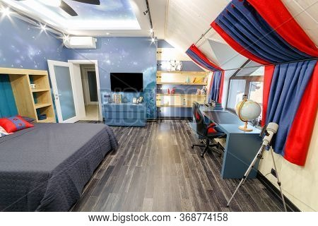 The Interior Of The Children's Room, The Room Of The Teenager In Red Blue Tones. Modern Design, Thou