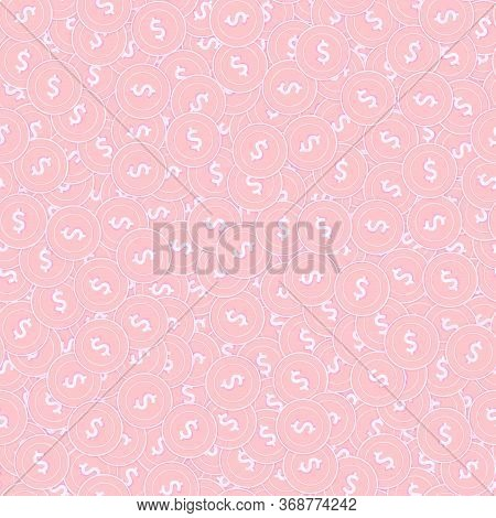 American Dollar Copper Coins Seamless Pattern. Nice Scattered Pink Usd Coins. Success Concept. Usa M