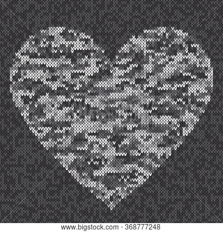 Urban Camouflage Style Knitted Heart. Vector Seamless Knit Melange Wool Texture Imitation With Shade