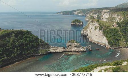 Aerial View Of The Small Island Of Nusa Penida Island From The Atuh Rija Lima Shrine On Nusa Penida