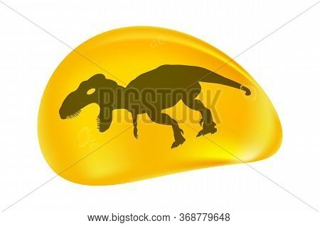 Dinosaur In A Drop Of Amber Isolated On White Background. Fossilised Tree Resin. Ancient Amber Midge