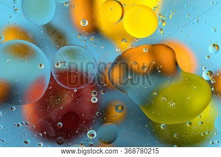 Oxygen Bubbles In A Liquid. Beautiful Structure Of Water In Macro A Natural Background