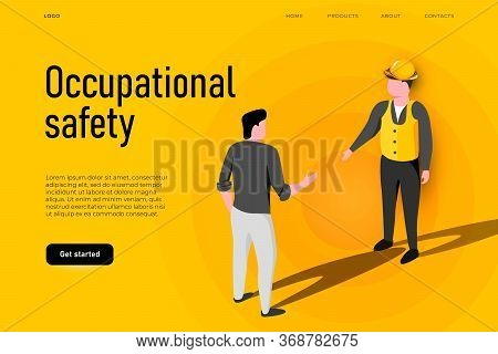 Safety Equipment Illustration Concept. Occupational Safety Landing Page Template, Two Workers Who Ta