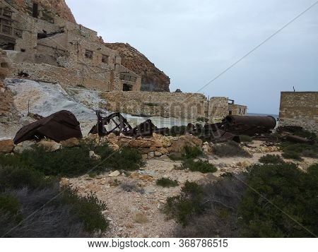 Old Ruined Sulfur Mine In The Mountains. Destroyed Factory. Greece. Milos Island. Summer