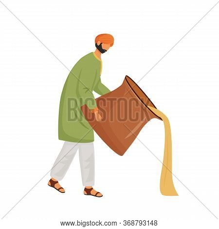 Indian Cuisine, Masala Chai Serving Flat Concept Vector Illustration. Male Indian Waiter, Man Pourin