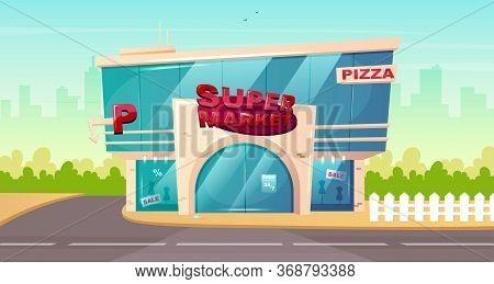 Supermarket Front Flat Color Vector Illustration. Mall Glass Building Entrance. Hypermarket Storefro