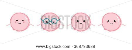 Set, Collection Of Cute And Happy Cartoon Style Pink Macaron Characters For Food, Confectionary Desi