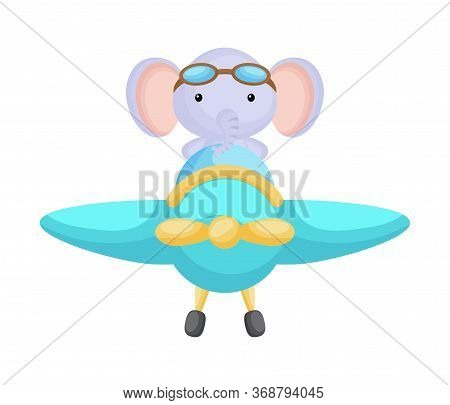 Cute Elephant Pilot Wearing Aviator Goggles Flying An Airplane. Graphic Element For Childrens Book,