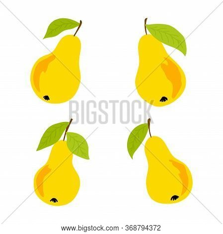 Set Of Vector Illustration With Isolated Yellow Sweet Juice Pear On White Background For Decoration