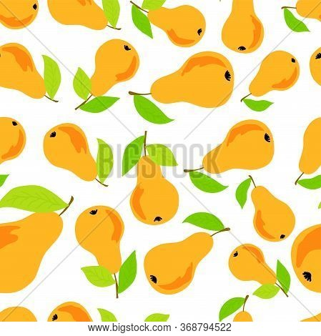 Trendy Seamless Pattern With Yellow Pears For Decorative Design. Abstract Pears For Cover Design. Ve