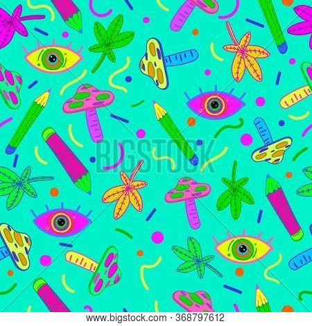 Psychedelic Background Pattern. Seamless Hallucinogenic Pattern With