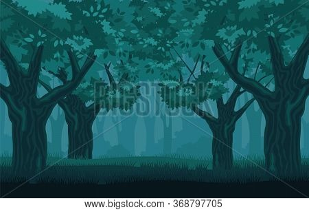 Mystical Gloomy Forest. Mysterious Centuryold Trees In