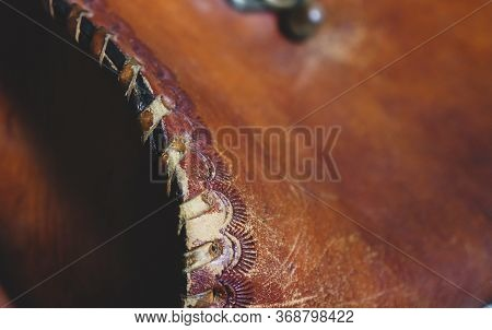 Leather Handmade Stitch Detail, Handcrafted Leather Goods, Hand Sewing And Stitching. Rustic Style.