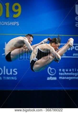 Kyiv, Ukraine - August 6, 2019: Viktoriya Kesar And Stanislav Oliferchyk Of Ukraine Perform During M