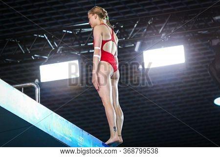 Kyiv, Ukraine - August 6, 2019: Sofiia Lyskun Of Ukraine Preparing To Dive During Womens 10m Platfor