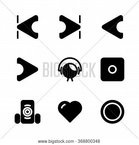 Music And Multimedia Icon Set Outline Include Volume,sound,music,mute,skip,start,audio Player,end,pl