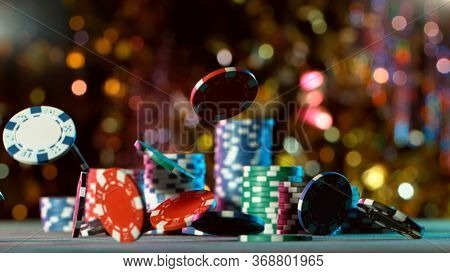 Poker still life with falling poker chips . Concept of hazard gaming, free space for text.