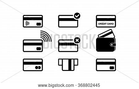 Credit Card Or Debit, Bank Card Icon Set On Isolated White Background. Eps 10 Vector