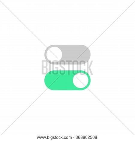 On Off Toggle Switch Buttons Icon On Isolated White Background. Eps 10 Vector.