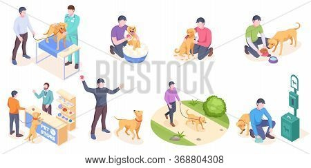 Pet Dog Care, Daily Owner Life, Vector Isolated Isometric Icons. Dog Pet And Owner Daily Activity, V