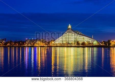 Riga, Latvia - October 18, 2019: Sightseeing Of Latvia. The National Library Of Latvia And The Dauga