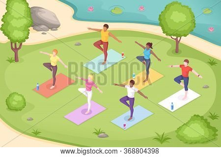 Yoga Outdoor In Park, Group Class Meditation, Vector Isometric Illustration Of Women In Pose On Yoga