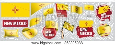 Vector Set Of Flags Of The American State Of New Mexico In Different Designs