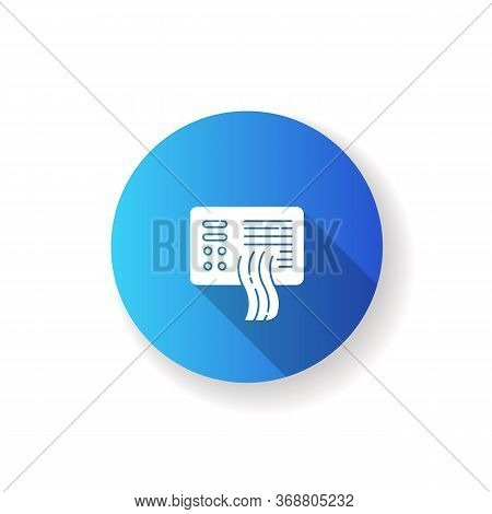 Air Pollution Sensor Blue Flat Design Long Shadow Glyph Icon. Contamination Filter. Fume Detector. M