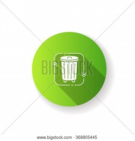 Waste Disposal Green Flat Design Long Shadow Glyph Icon. Recycle Garbage. Reduce Trash. Junk Managem