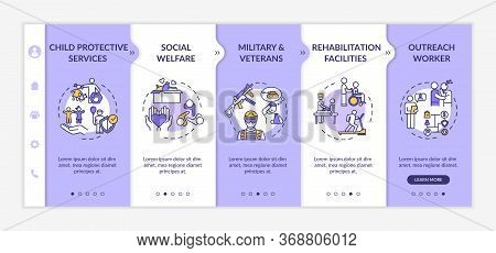 Social Welfare Onboarding Vector Template. Child Protective Services. Rehabilitation Center. Respons
