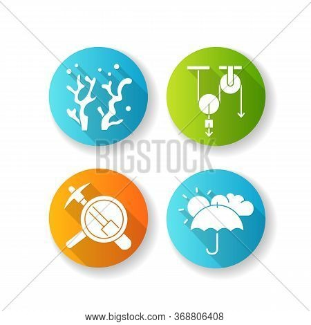 Physical And Life Sciences Flat Design Long Shadow Glyph Icons Set. Formal And Natural Scientific Fi
