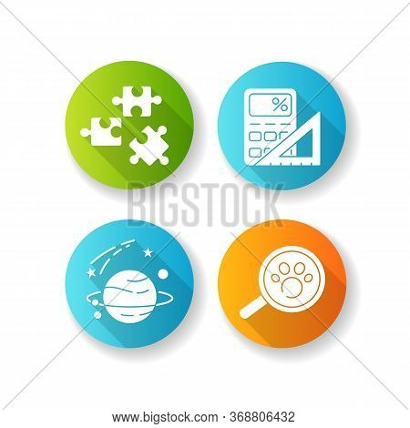 Natural And Formal Sciences Flat Design Long Shadow Glyph Icons Set. Different Scientific Fields Of