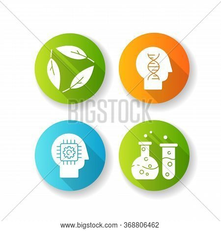 Modern Sciences Flat Design Long Shadow Glyph Icons Set. Formal And Natural Scientific Disciplines.