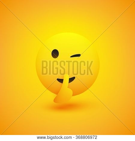 Winking, Shushing Face Showing Make Silence Sign - Simple Emoticon On Yellow Background - Vector Des