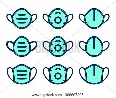 Medical Mask Symbols On White Background. Flat Filled Contoured Vector Icon Set.