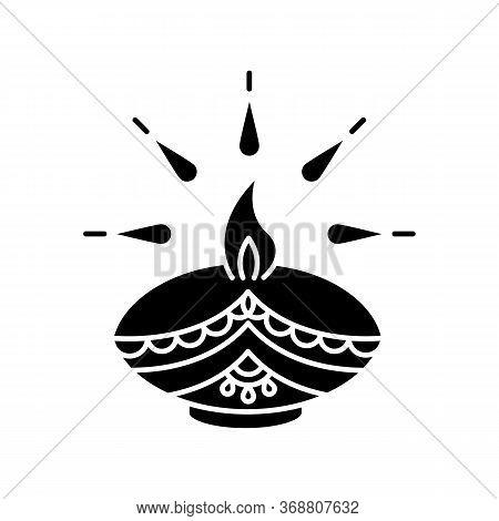 Diwali Festival Black Glyph Icon. Hindu Festival Of Lights. Traditional Diya. Indian Holiday. Clay O