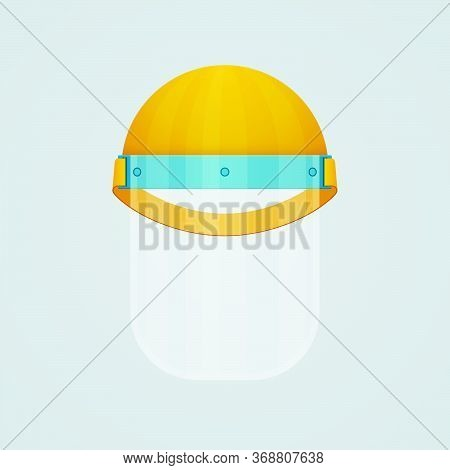 Plastic Face Shield Work Helmet On White Background. Coronavirus Covid-19 Protective Mask Equipment