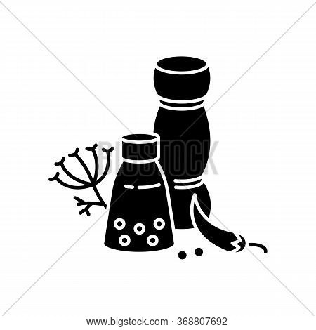 Indian And Herbs Black Glyph Icon. Traditional Seasoning. Asian Culture. Cooking Ingredients. Chili