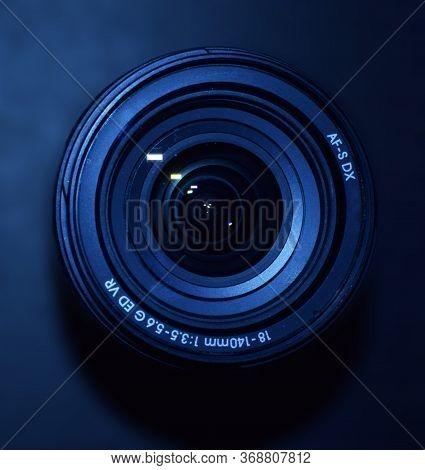 Delhi - India 30th May 2020 Close Up Of Nikon 18-140mm Dslr Or Digital Camera Zoom Lens Isolated In
