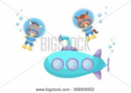Cute Cartoon Donkey And Horse In Diving Suit Swim Underwater Near Submarine. Design Of T-shirt, Albu