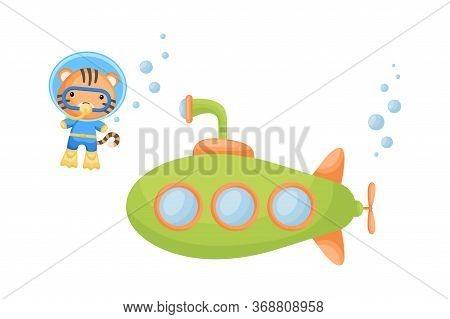 Cute Cartoon Tiger In Diving Suit Swim Underwater Near Submarine. Design Of T-shirt, Album, Card, In
