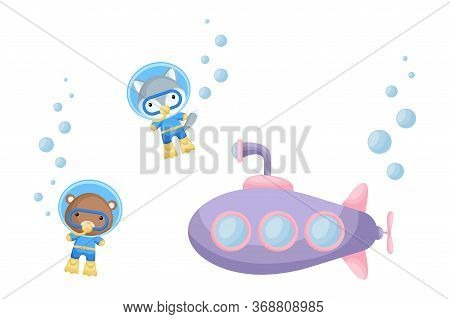 Cute Cartoon Wolf And Bear In Diving Suit Swim Underwater Near Submarine. Design Of T-shirt, Album,
