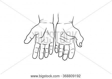 Hand Gesture Vector Sketch Collection. Body Language Concept. Hands Signs - Interactive Communicatio